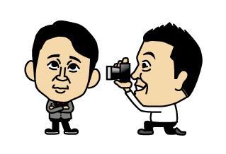 有吉の写真を取る山崎のイラスト