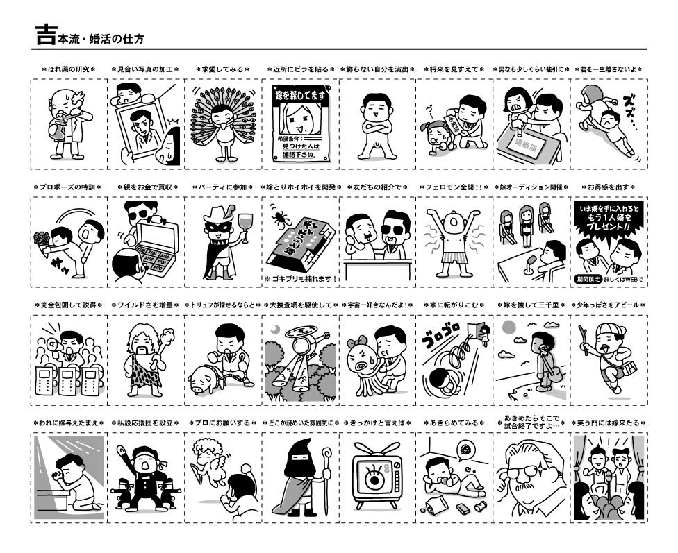吉本手帳のイラスト、吉本流・婚活の仕方