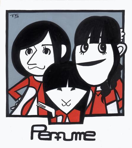 日本の女性3人組テクノポップユニットであるPerfume(パフューム)の似顔絵イラスト。西脇綾香, 大本彩乃, 樫野有香