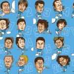 サッカー日本代表の似顔絵イラスト画像