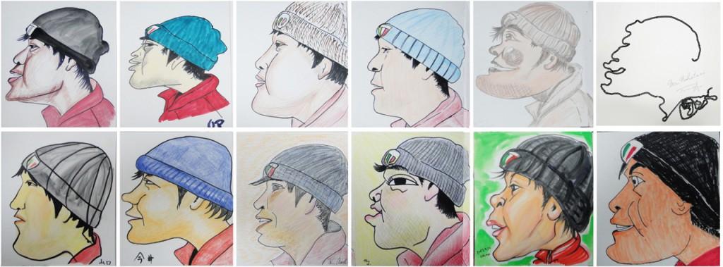 小河原智子さんとその教室の生徒に描いてもらった似顔絵